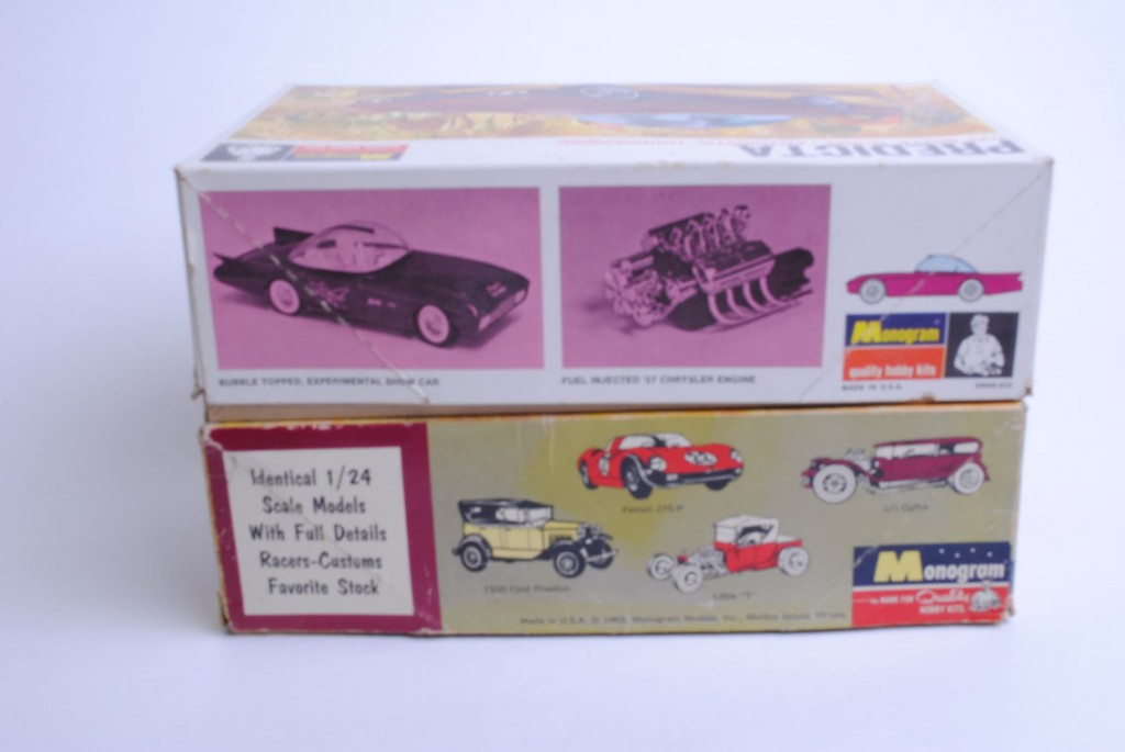 The sides of the second and third boxes differed significantly. Photos of a model of the decaled car and the engine appeared on the third box (top) with drawings of other Monogram Model cars showing up on the side of the box of the second box lid. The ends of both boxes essentially matched one another: like the first box lid, an image of the car appeared (this time the box lid photo) to the right of the company logo and kit identification.