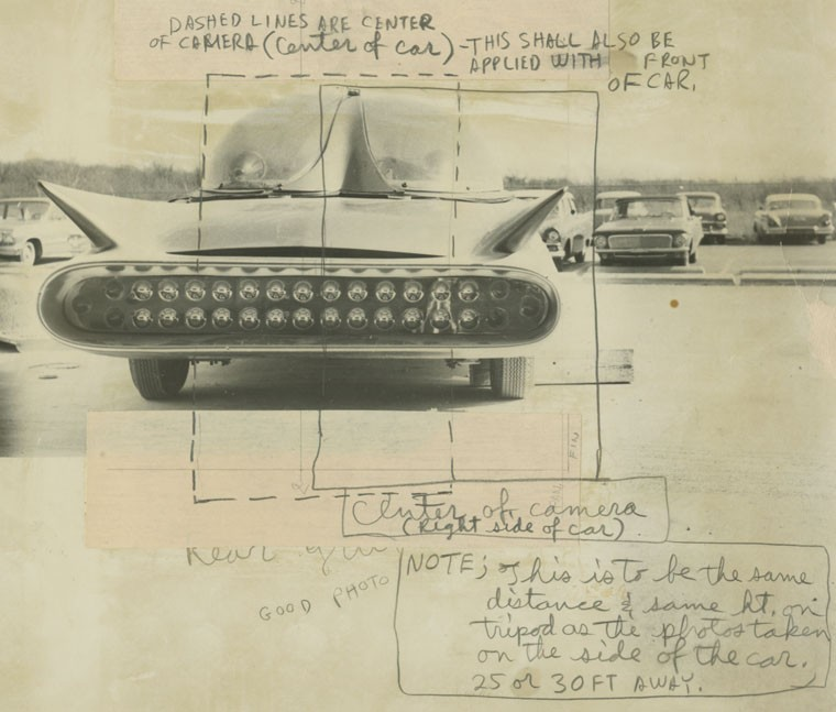 Here's one of the annotated photos taken by Monogram personnel during the kit-measurement period when the car was at the company.